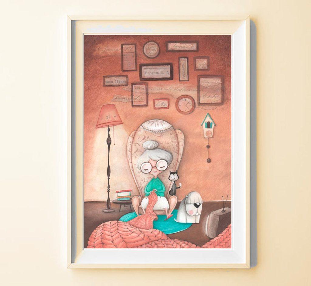 Stampa Illustrata Nonnina in cornice