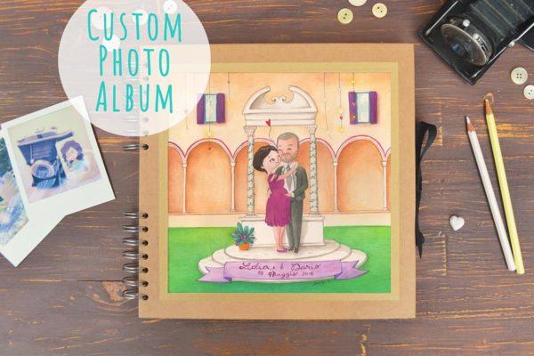 Album di nozze con ritratto degli sposi