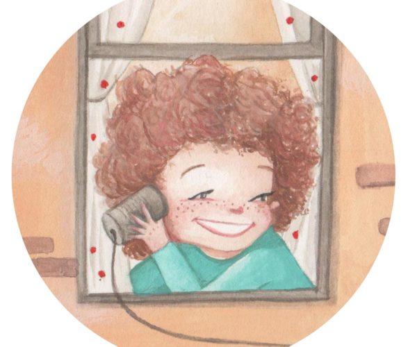 Dettaglio Stampa Illustrata Bambini alla Finestra