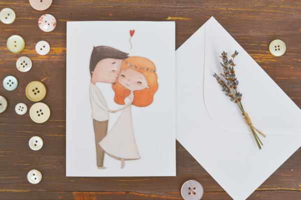 Biglietto d'auguri nozze con busta bianca