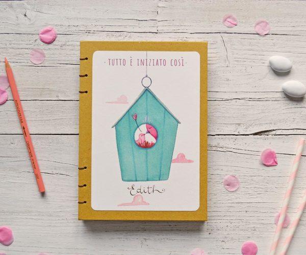 Diario del bebè con nido e nome in copertina