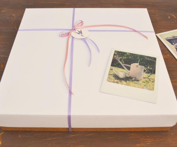 Scatola bianca con nastrino per album fotografico grande