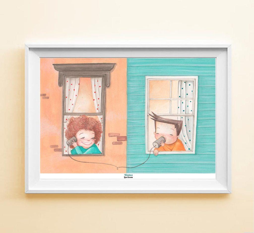 Stampa Illustrata Bambini alla Finestra con cornice