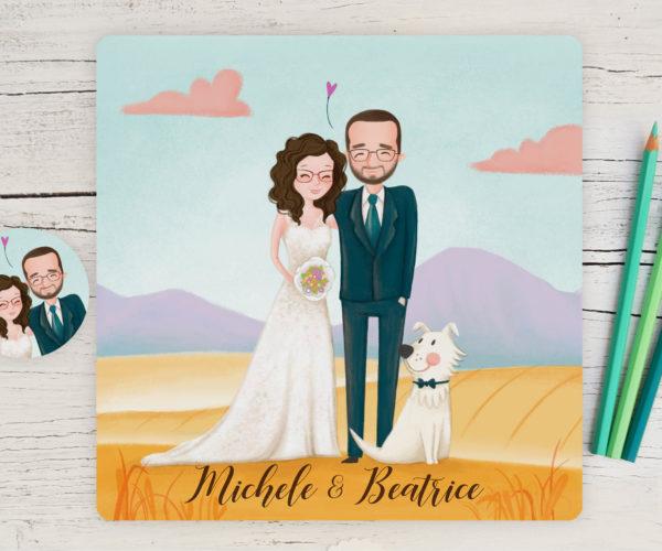 Partecipazione di matrimonio con ritratto sposi e adesivo chiudibusta