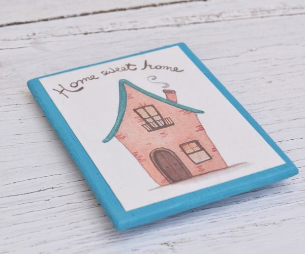 Calamita in legno illustrata Home sweet home