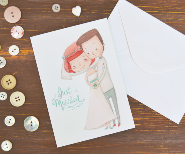 Biglietto d'auguri sposi Just Married con busta bianca