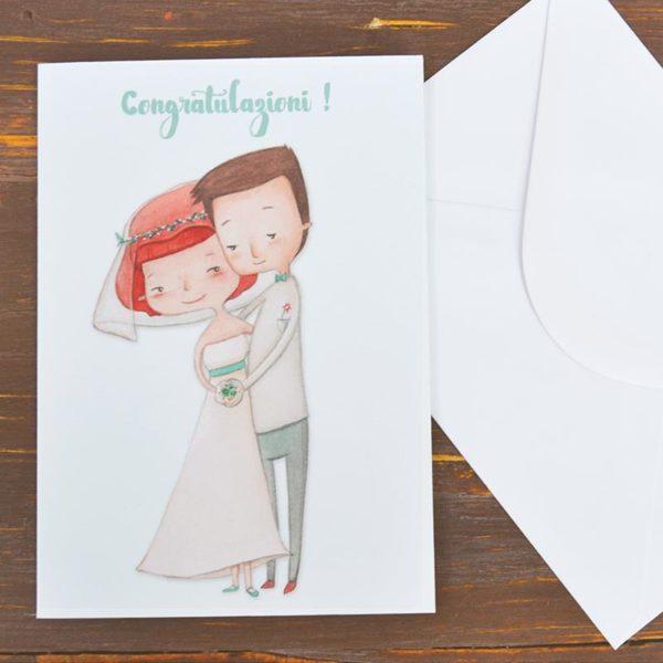 Biglietto d'auguri matrimonio con busta bianca