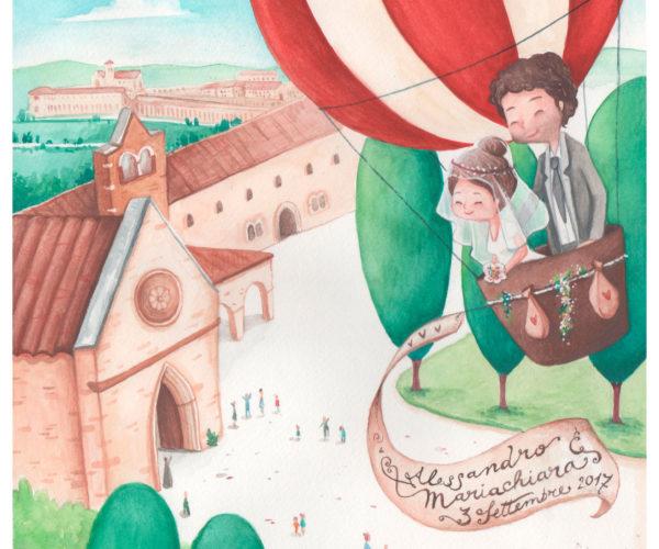 Ritratto personalizzato di viaggio mongolfiera