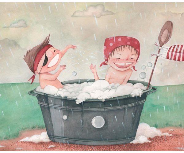 Stampa Illustrata Sotto la pioggia
