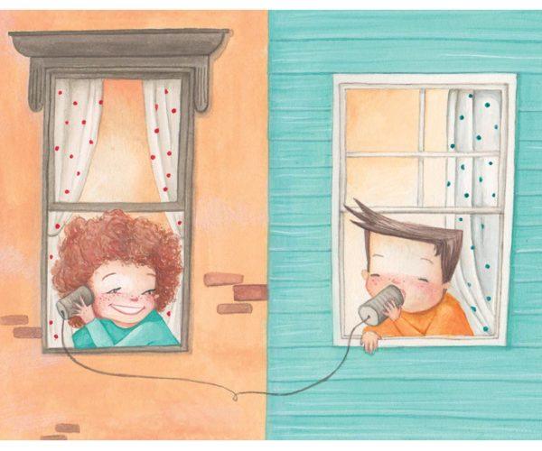 Stampa Illustrata Bambini alla Finestra