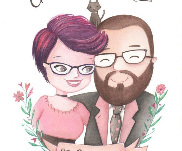 Ritratto personalizzato di nozze su fondo bianco