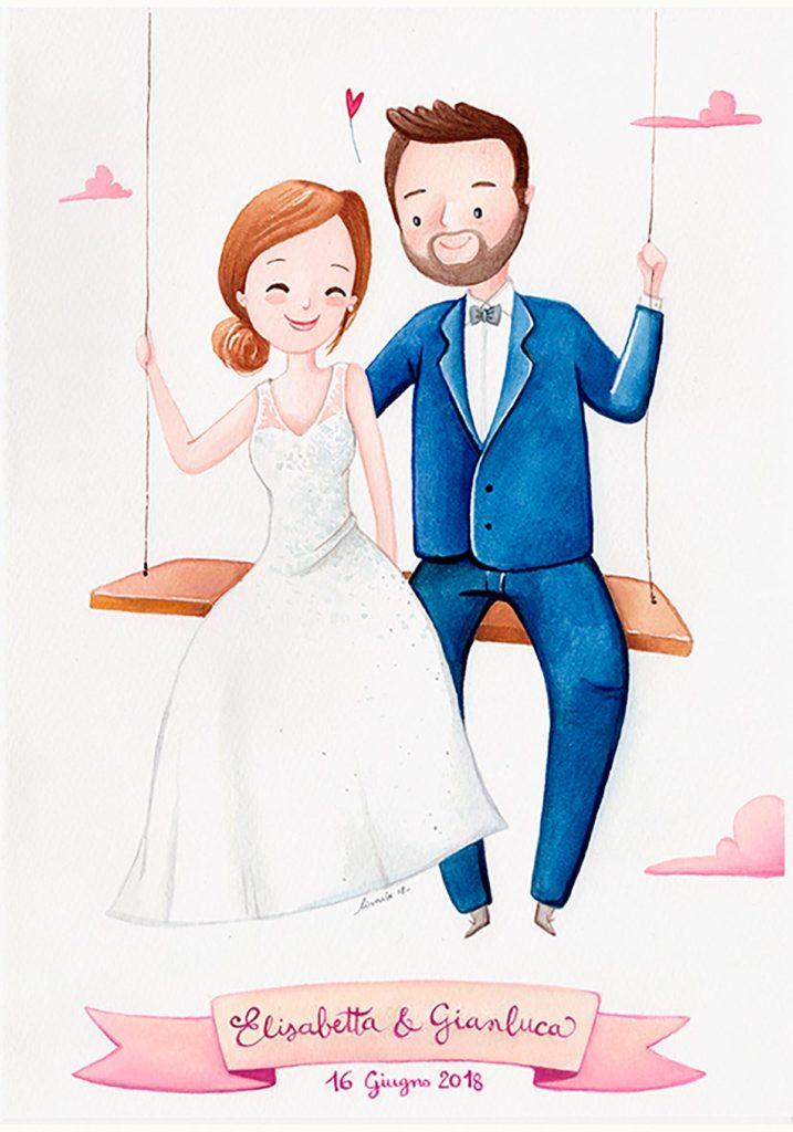 Partecipazione di matrimonio con ritratto di coppia
