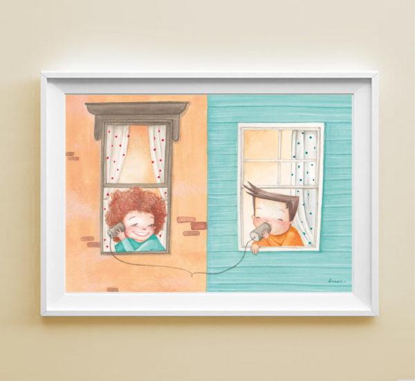 Stampa Bambini alla finestra in cornice