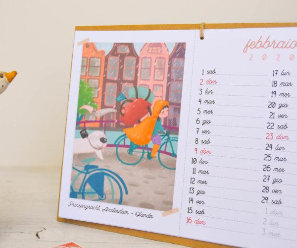 Illustrazione Febbraio Calendario 2020 Around the world