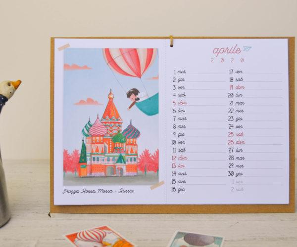 Illustrazione Aprile Calendario 2020 Around the world