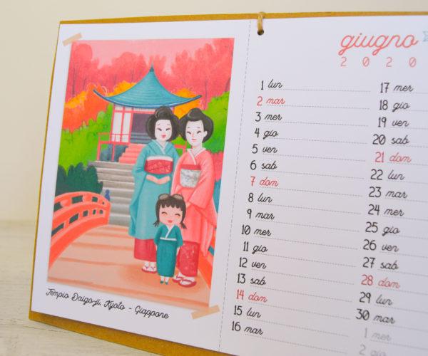 Illustrazione Giugno Calendario 2020 Around the world