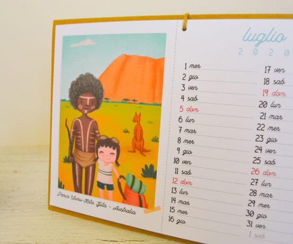 Illustrazione Luglio Calendario 2020 Around the world