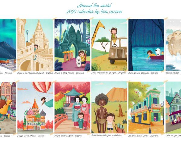Illustrazioni Calendario 2020 Around the world