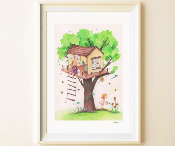 Stampa Casa sull'albero in cornice