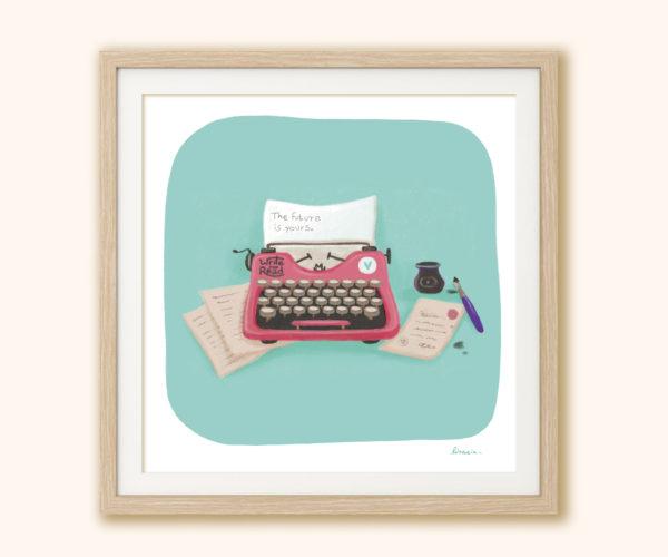 Stampa Macchina da scrivere in cornice