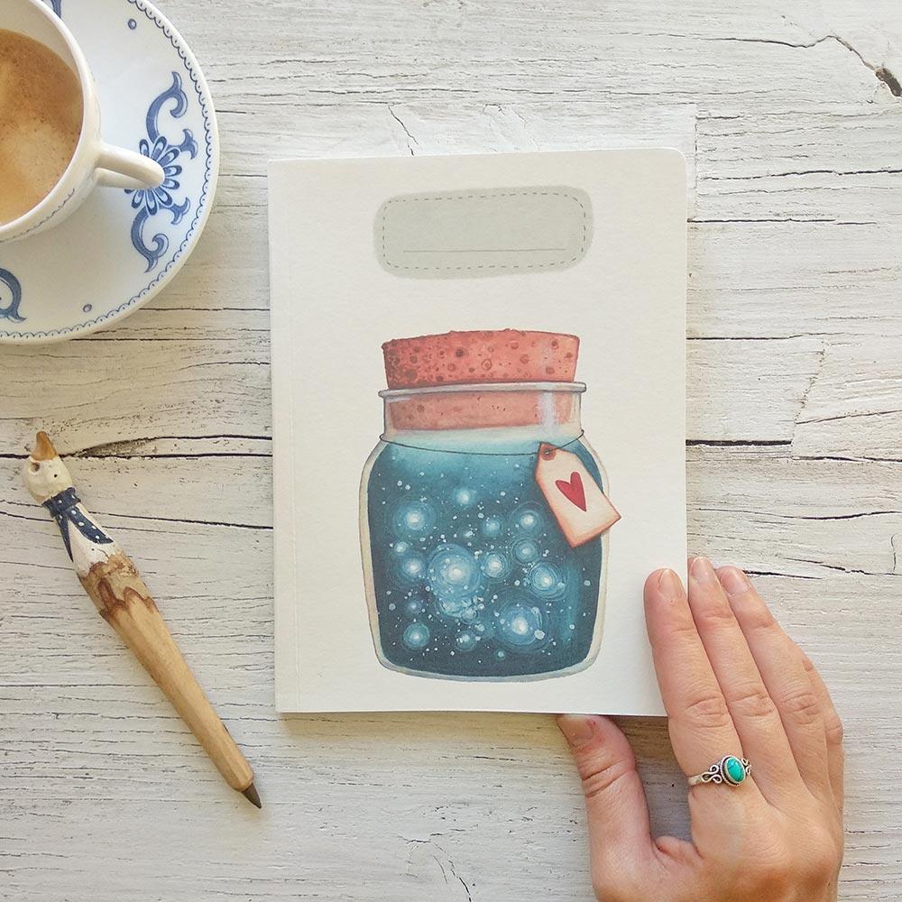 Handmade notebook Dreams jar
