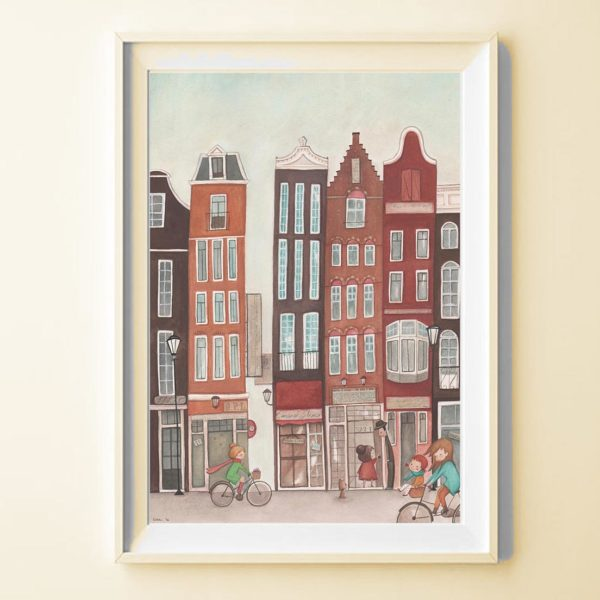 Illustrated print Amsterdam - Details