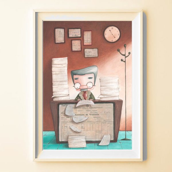 Illustrated print Old employee