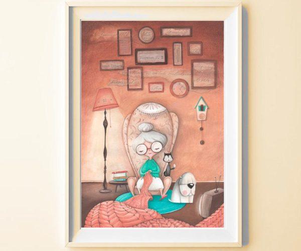 Illustrated print Granny