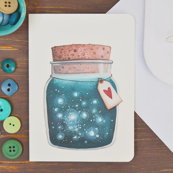 Greeting card Dreams jar