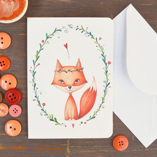 Greeting card Female fox