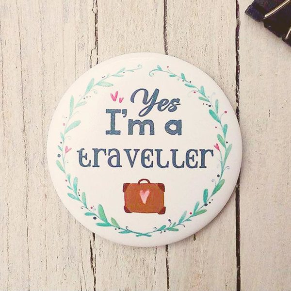 Illustrated magnet I'm a traveller