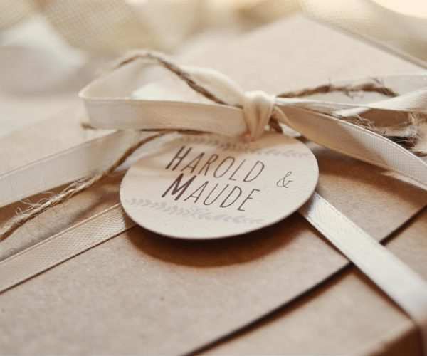 Kraft box with tag and ribbon