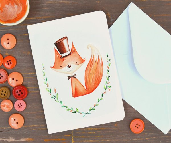 Greeting card Male fox