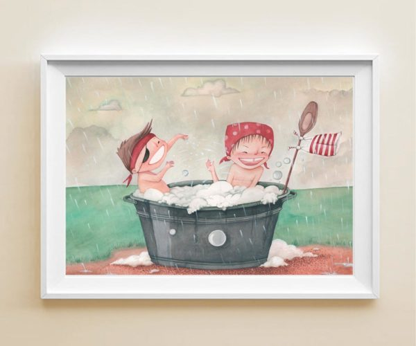 Illustrated print Kids in the rain