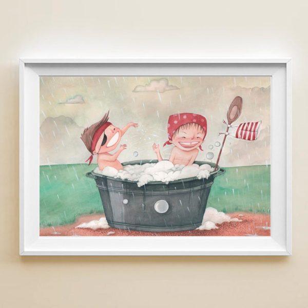 Illustrated print Kids in the rain