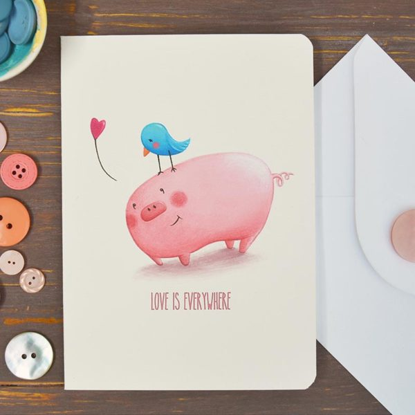 Greeting card Pig