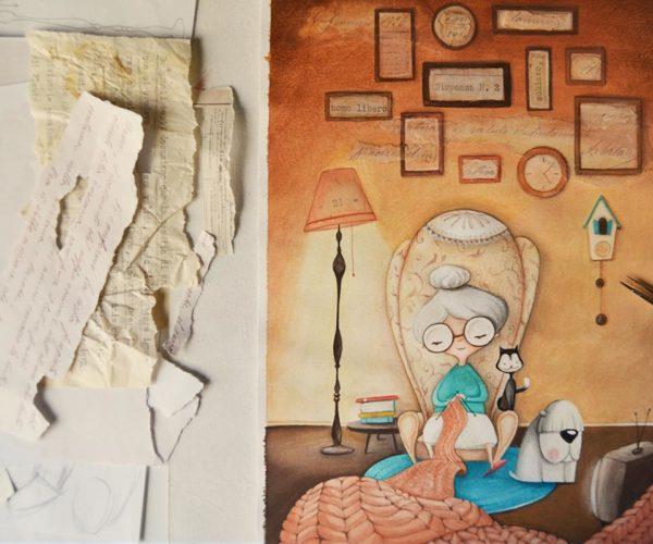 Illustrated print Granny - details
