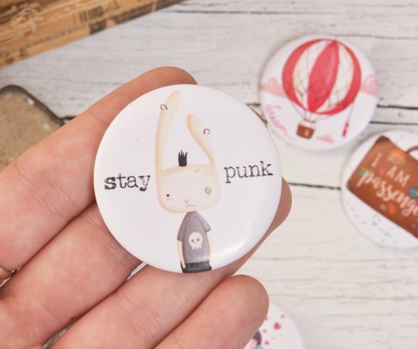 Illustrated Pin Stay Punk