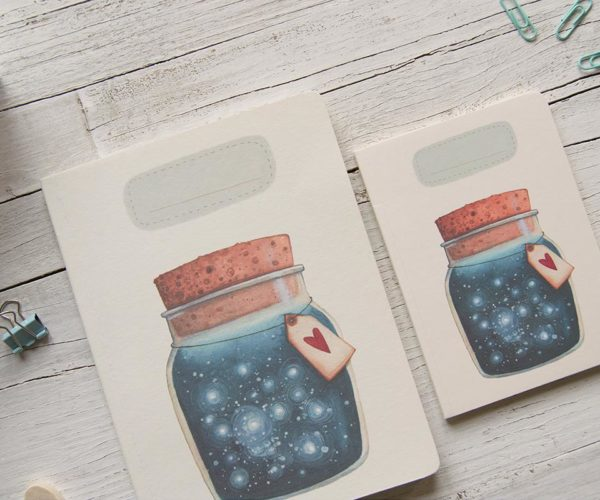 Handmade notebook Dreams jar