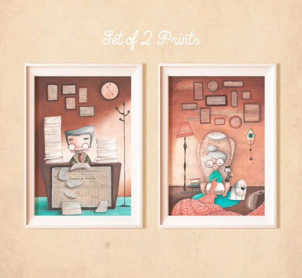 Set of 2 Illustrated prints Old employee & Granny