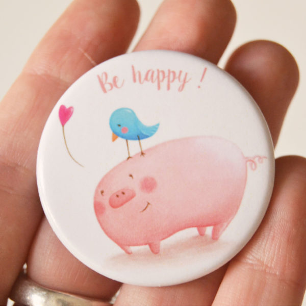 Illustrated pin Be happy