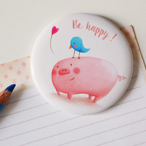 Illustrated magnet Be happy