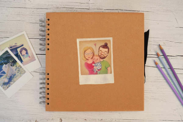 Custom Photo album with hand painted instant picture