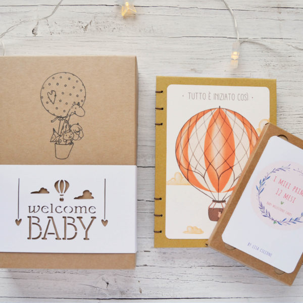 Box Welcome baby, Baby diary and Baby milestone cards