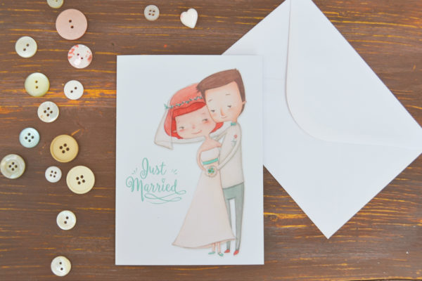 Wedding greeting card Just married with envelope