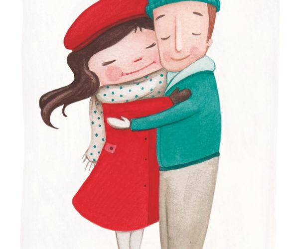 Illustrated print Warm embrace