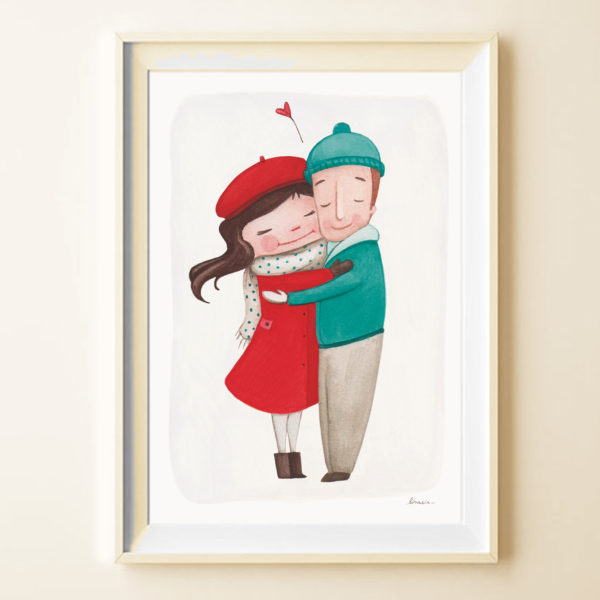 Illustrated print Warm embrace