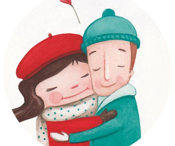Illustrated print Warm embrace - Details