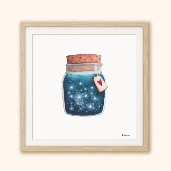 Illustrated print Dreams jar