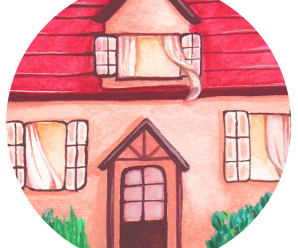Illustrated print Cottage - Details